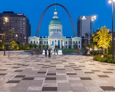 The arches at Kiener Plaza in St. Louis, Missouri. We provided our Custom Terrazzo Pavers for the open public space because of their versatile look and finishes.