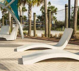 Wausau Tile Siesta Key Beach Exterior Precast Seating Lounge Chairs