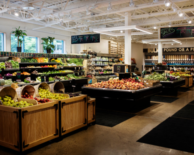 Beautiful Interior Display at Wedge Co-op of all fresh fruit.