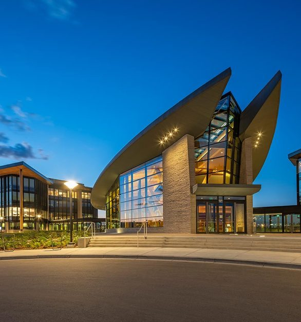 The exterior of the state-of-the-art Calgary campus.