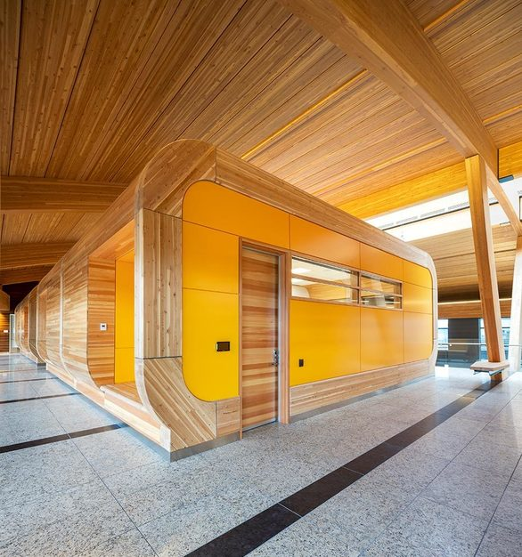 Glulam construction figures prominently in the ceiling, beams, columns, decking and benches – creating a natural look befitting of a company that has become part of the Alberta landscape.