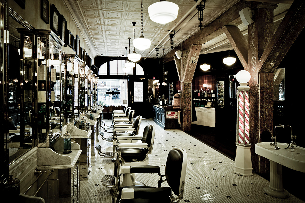 Take a step back in time at this vintage salon in Brooklyn, NY.  Penny-Tiles, Barber Pole, Tin Ceiling and so much more to admire.