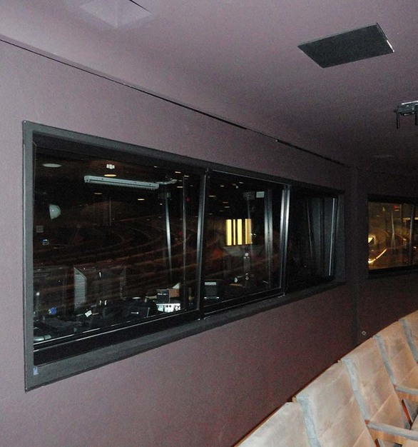 SCW940-A7 Horizontal Rolling and Fixed interior windows were used for the control room windows. They contribute a key element to the performance, permitting the production technicians to work and interact without interfering with the onstage performance.