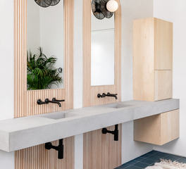 Wood Accent, Bathroom Wood Accent, Restroom Design, Surfacing Solution