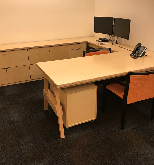 Our U-shaped is as beautiful as they are functional.  The U-desk sections are compatible with LimbCraft legs, allowing all of your employee workstations to share consistent, complementary designs throughout your offices.