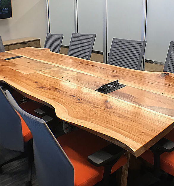 This artisan-crafted table will be an eye-catching focal point in any conference room, by Wood Cubicles.