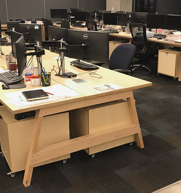 With its contemporary styling and endless adaptability, you can fill an entire office with collaborative work stations that are real wood furniture made with finely crafted joinery, all the while fostering the cutting edge culture you work so hard to build.