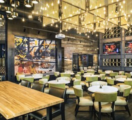 Wood Statements Ambrosia Maple Butcher Block Table 90 NINETY Bar and Grill Suncoast Hotel and Casino