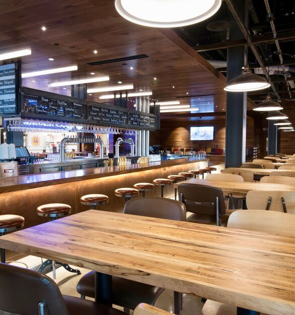 The Legacy Food Hall in Plano, Texas, features beautifully crafted communal tables made out of Wood Statements spalted maple hardwood.