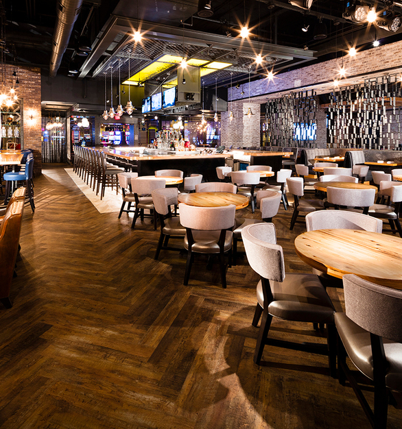 Wood Statements supplied hickory butcher block tables, and a custom private dining communal for the Bailick's Gastropub.