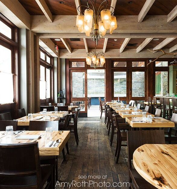 The Mistral Restaurant is located in the heart of the downtown area of Princeton, New Jersey, and features reclaimed hickory dining tables by Wood Statements.