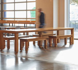 Wood Statements White Oak Communal Table and Bench Pavilion Food Hall Design