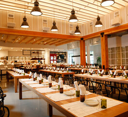 Wood Statements White Oak Communal Tables Sixty Vines Restaurant Design