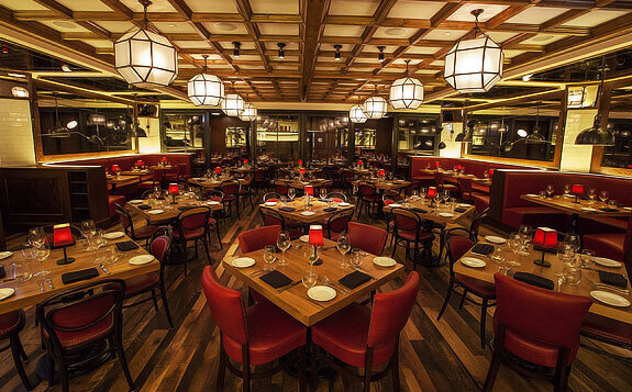 Wood Statements supplied rustic white oak tables for the Labriola restaurant on Michigan Ave. in Chicago, Illinois.