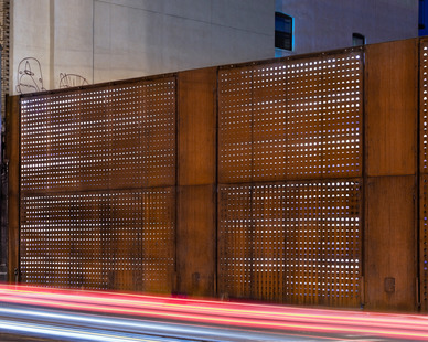 The panels of the Wyckoff Exchange are laser-cut with a dynamic gradient pattern and internally illuminated by concealed LED lighting to create a dramatic building facade.