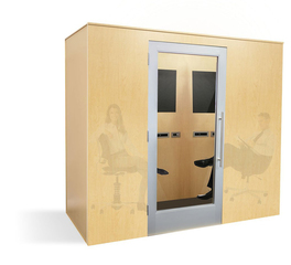 Zenbooth Executive Booth Maple Exterior and Interior