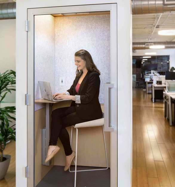 The Zenbooth Solo is the ideal private office pod that blends with the rest of your interior office design. Easy assembly & disassembly make it easy to get your booth up fast or pack it down to take with you during office moves.