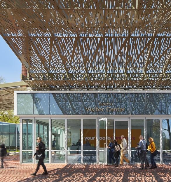 Zoo Visitor Center Modern Sliding Glass Walls Canopy Design