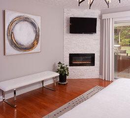 zuo modern indoor bedroom furniture bench and artwork