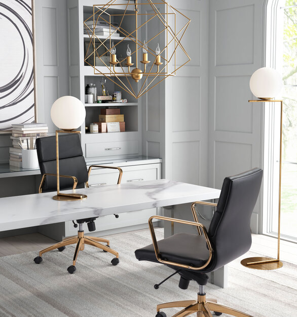 ZUO Modern's office chairs are dressed for success, this gorgeous office chair with its rich gold accents is the perfect choice for your high profile office space.