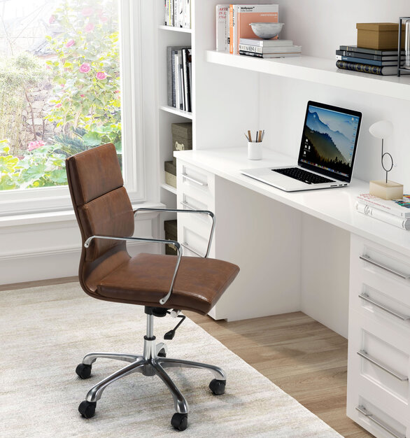 Make work a pleasure with this handsome office chair in vintage brown faux leather by ZUO Modern.