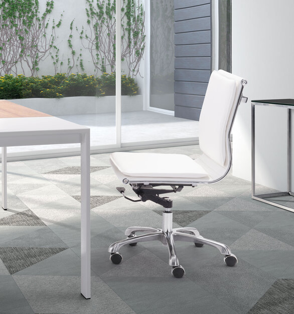 With its ergonomic shape, padded back, and seat cushions, the Lider Plus armless chair by ZUO Modern works in comfort. It has a chromed steel frame with soft neoprene pads.