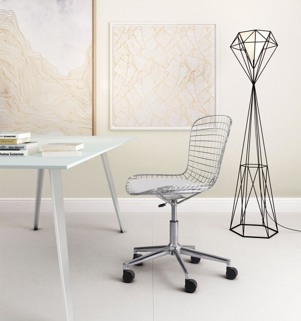 Wired for success. This ZUO Modern modern office chair in bright chromed steel is designed to be flexible.