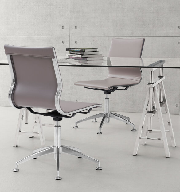 ZUO Modern's Glider conference chair features a slim yet comfortable profile with added lumbar support.