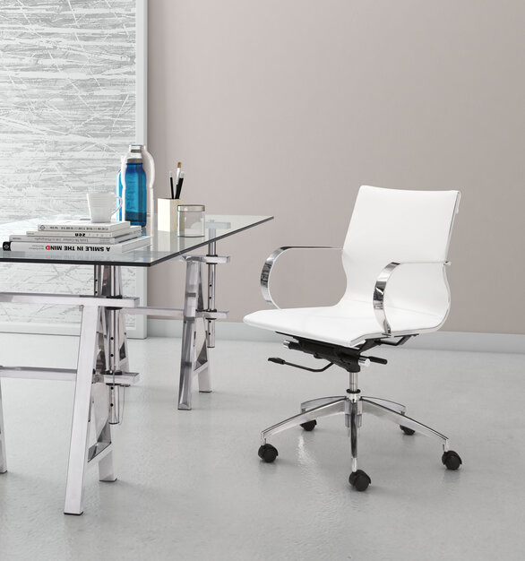 Glider low back office chair by ZUO Moderns features a slim yet comfortable profile with added lumbar support, soft 100% Polyurethane upholstery and chrome arms.