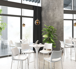 zuo modern restaurant dining seating and hanging light fixtures