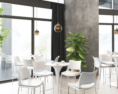 ZUO Modern's Ace bar chair comes in either white or silver. Also shown in this photo is their Trente hanging ceiling light fixture in a satin finish and an amber color.
